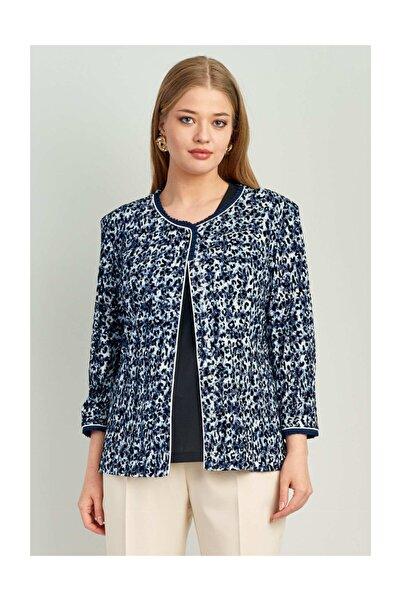 Ekol Kadın Lacivert Desenli Inci Düğmeli Ceket