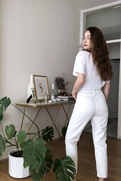 Beyaz Beli Lastikli Yüksek Bel Mom Jeans TWOSS20JE0428