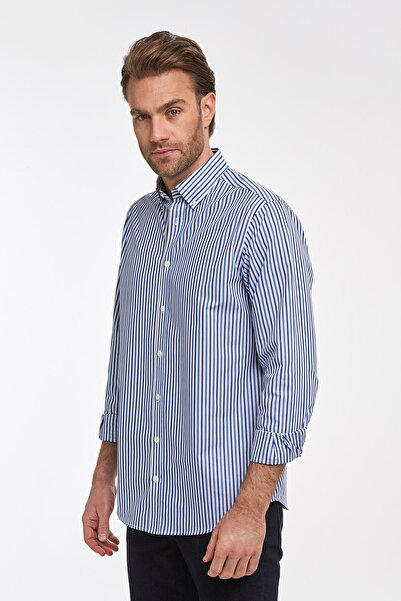 Hemington Lacivert Mavi Çizgili Pamuk Spor Gömlek