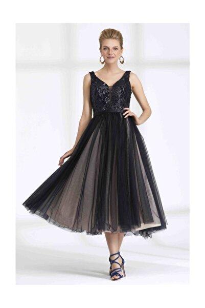 RENGIN Robası Payetli Kabarık Tül Etekli Elbise