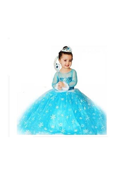 SAHRA BUTİK Frozen Elsa Karlar Ülkesi Kraliçesi Kostümü, Çocuk Elbisesi