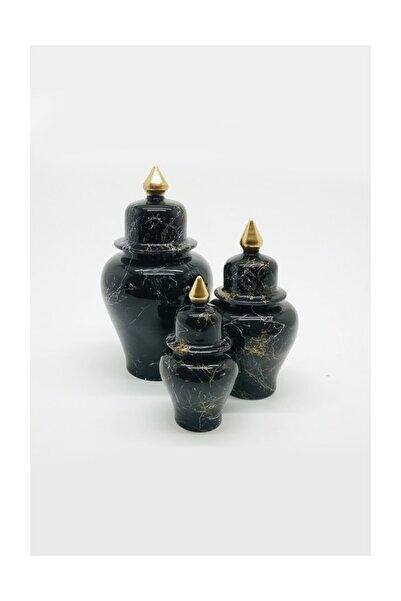 Şah Küp Medium 3'lü Set Siyah Mermer