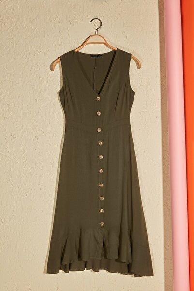 Haki Düğmeli Elbise TWOSS20EL1922