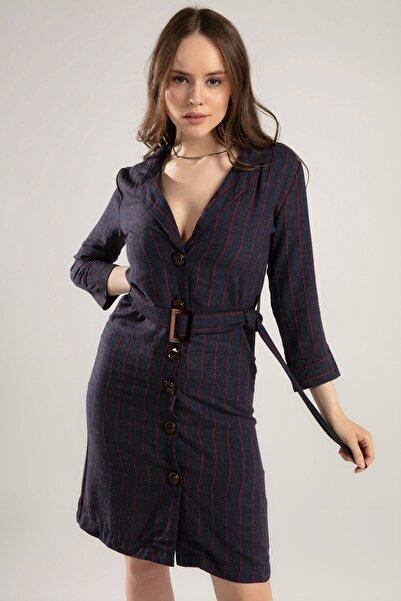 Y-London Kadın Lacivert Kemerli Çizgili Elbise 38562 Y19W109-38562
