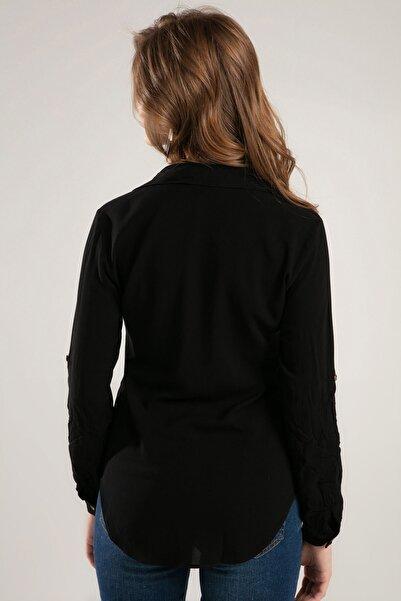 Kadın Siyah Cep Detaylı Düğmeli Gömlek 3428 Y19W110-3428