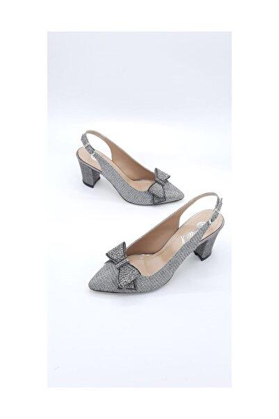 Stella Gümüş Simli Topuklu Ayakkabı
