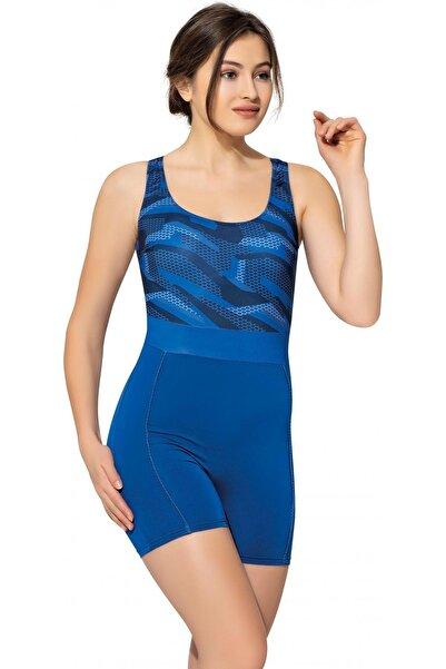 Kadın Desenli Şortlu Yüzücü Mayo 6506 Desenli Saks