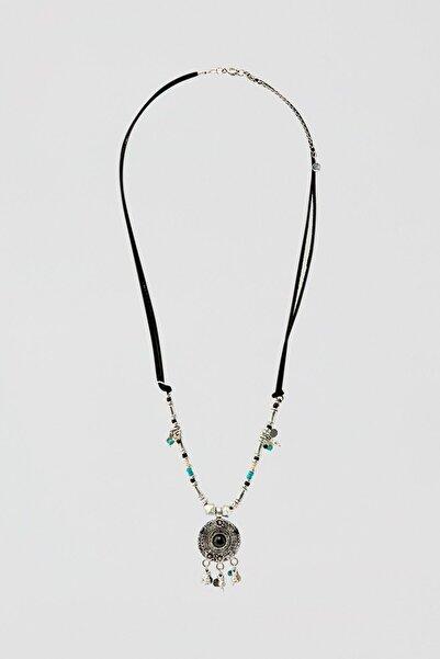 Pull & Bear Kadın Gümüş Madalyon Uçlu Siyah Zincir Kolye 05992397