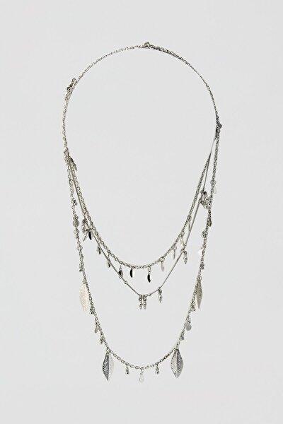 Pull & Bear Kadın Gümüş Yaprak Uçlu Kolye Seti 05992312