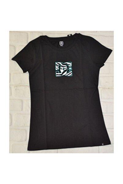 DC Zebra Logo Tee Black Kadın   Tişört
