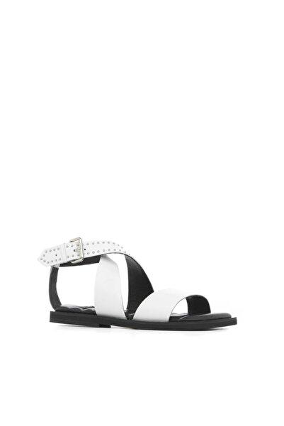 İLVİ Donka Kadın Sandalet Beyaz Deri