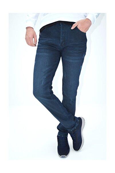 Tint Mavisi Çizgili Likralı Yıpratmalı Denimstar Erkek Kot Pantolon