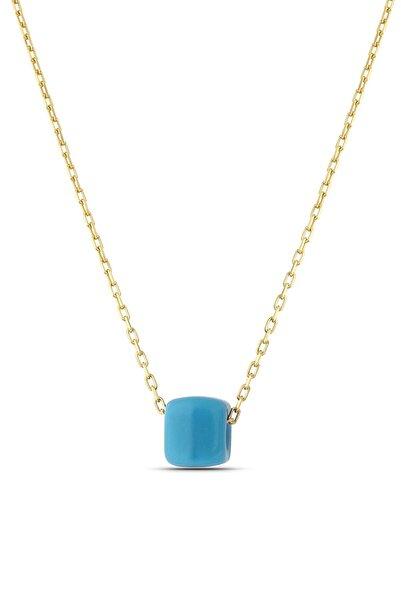 MySilvers Kadın Altın Mavi Boncuklu Klasik Gümüş Kolye