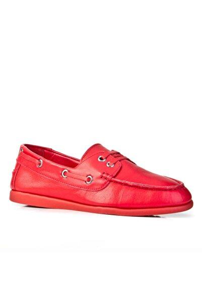 Cabani Kadın  Bağcık Detaylı Loafer Ayakkabı Kırmızı Deri