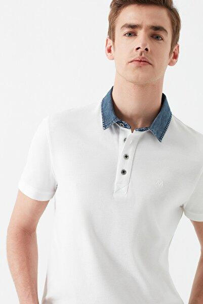 Erkek Denim Yaka Beyaz Polo T-Shirt 062685-27879