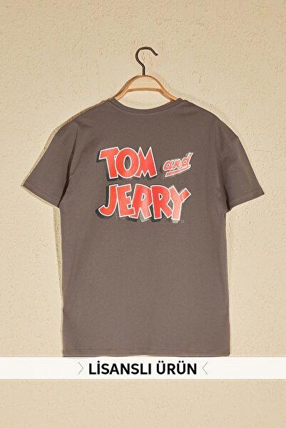 Tom & Jerry Lisanslı  Gri Sırt Baskılı Boyfriend Örme T-Shirt TWOSS20TS0386