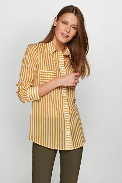 Faik Sönmez Kadın Safran Çizgili Gömlek 38378 U38378
