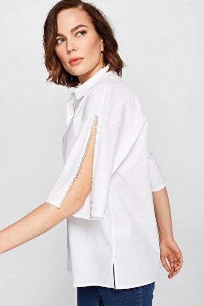 Faik Sönmez Kadın Beyaz Taş Detaylı Gömlek 38393 U38393