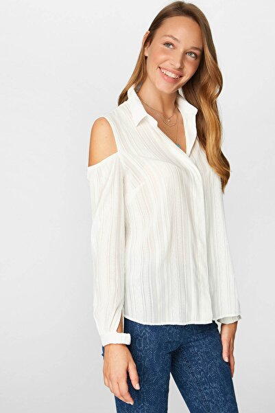 Faik Sönmez Kadın Ekru Omuz Detaylı Gömlek 38441 U38441