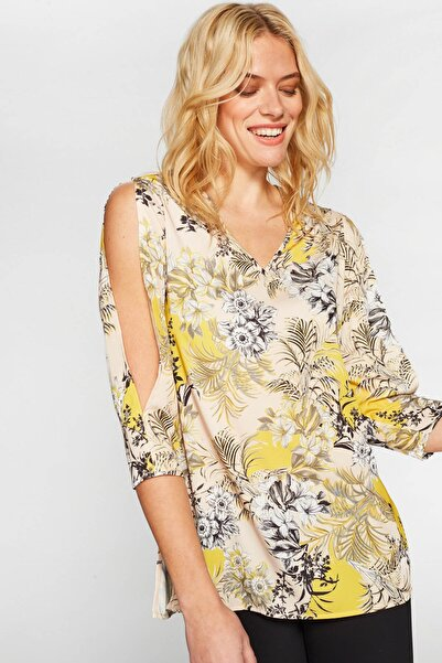 Faik Sönmez Kadın Sarı Desenli Tunik 38833 U38833