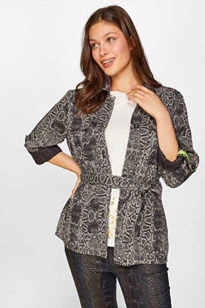 Faik Sönmez Kadın Antrasit Hayvan Desenli Overshirt 60443 U60443