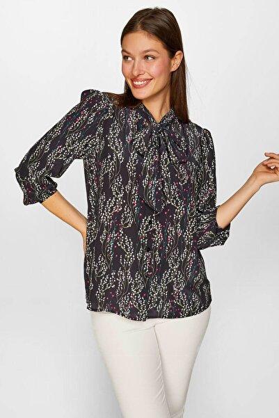 Faik Sönmez Kadın Siyah Çıtır Çiçek desenli Kravat yaka Gömlek 60424 U60424