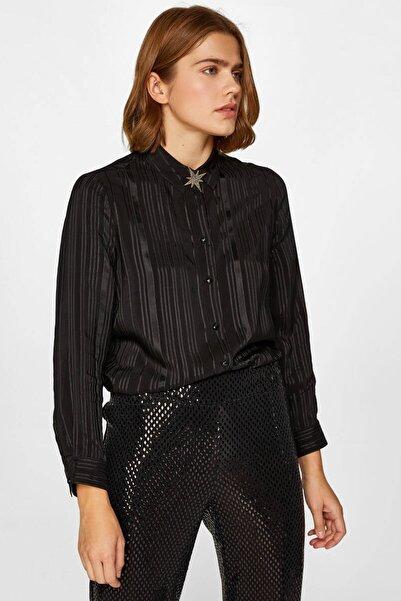 Faik Sönmez Kadın Siyah Sim Çizgili Saten Gömlek 60392 U60392