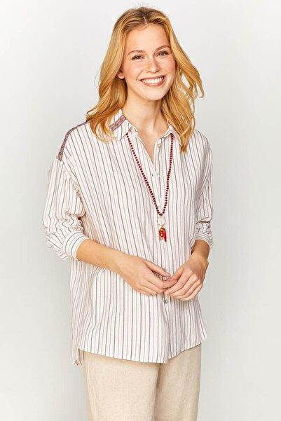 Faik Sönmez Kadın Ekru Çizgili Şerit Detaylı Gömlek 60377 U60377