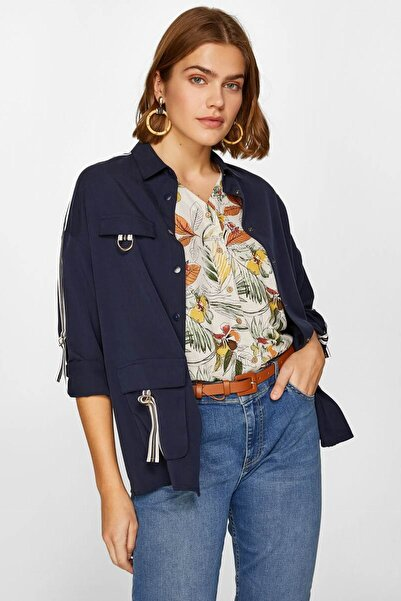 Faik Sönmez Kadın Lacivert Şeritli Detaylı Overshirt 60151 U60151