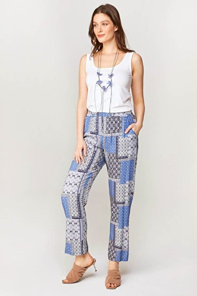 Faik Sönmez Kadın Mavi Comfort Fit Patchwork Desenli Pantolon 60572 U60572