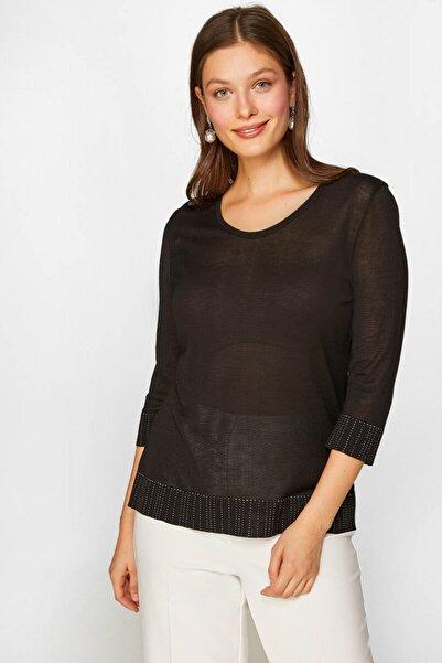 Faik Sönmez Kadın Siyah Taş İşlemeli Triko Bluz 60730 u60730