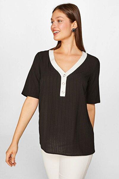 Faik Sönmez Kadın Siyah Kontrast Renkli Bluz 60146 U60146