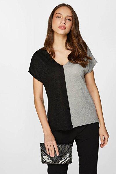 Faik Sönmez Kadın Siyah Renk Bloklu Simli Triko Bluz 60742 U60742