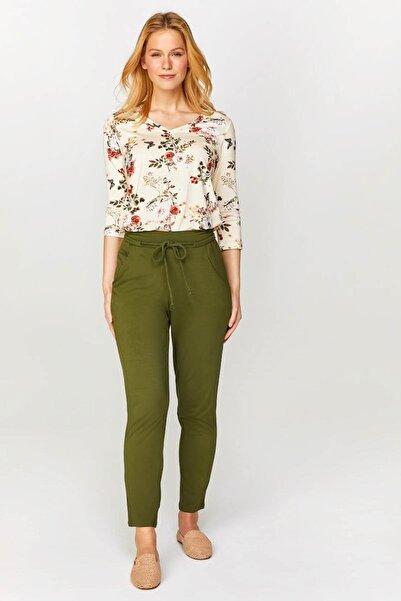 Faik Sönmez Kadın Koyu Haki Comfort Fit Örme Pantolon 60059 U60059