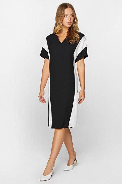 Faik Sönmez Kadın Siyah Blok Renkli Elbise 60304 U60304
