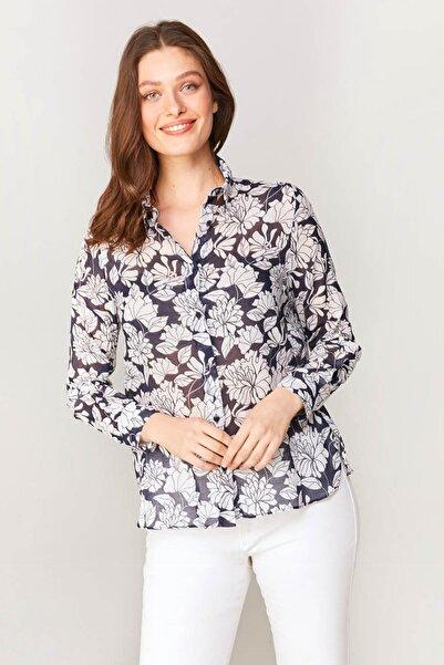 Faik Sönmez Kadın Lacivert Çiçek Desenli Monochrom Vual Gömlek 60081 U60081