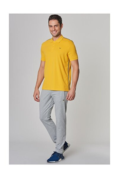 Sarı Polo Yaka  Likralı Pamuklu Erkek T-Shirt DS-1339