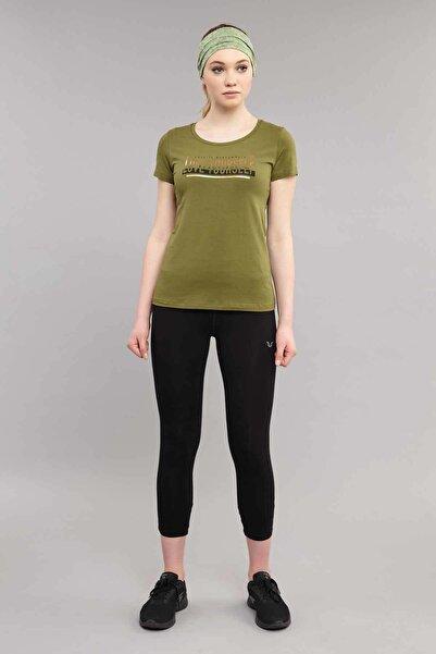 bilcee Yeşil Likralı Pamuklu Kadın T-Shirt ES-3614