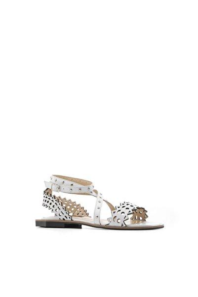 İLVİ Bell Kadın Sandalet Beyaz Deri