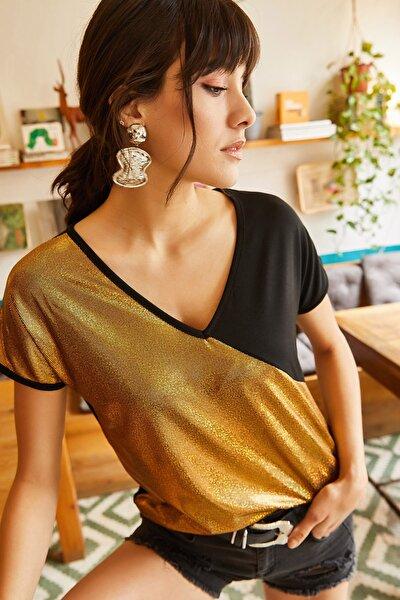 Kadın Gold V Yaka Sim Bloklu T-shirt TSH-19000281