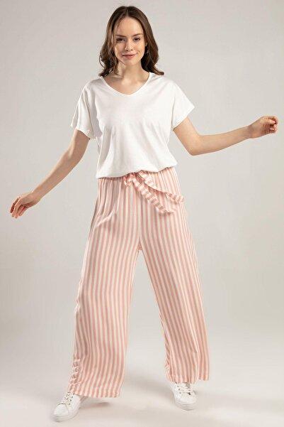 Y-London Kadın Pudra Beli Lastikli Bol Kesim Çizgili Pantolon 6470