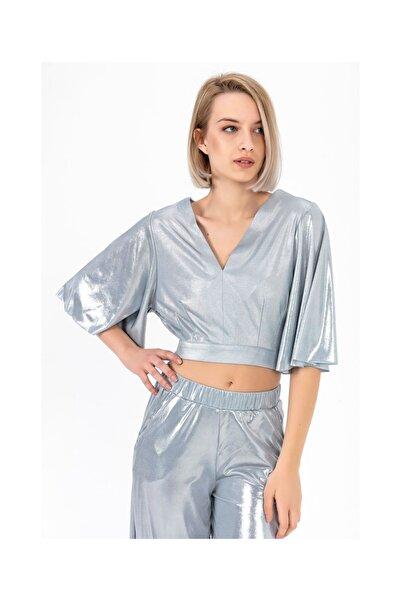 Tiffany Bağlamalı Örme Foil Bluz Y20006