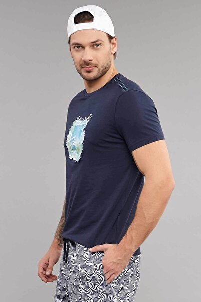 Lacivert Pamuklu Erkek T-Shirt ES-4003