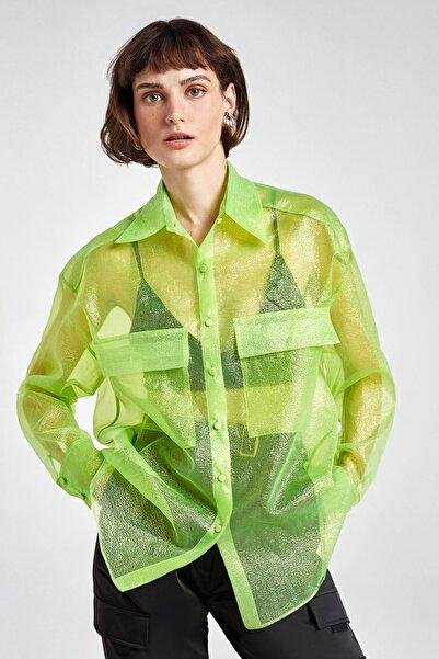 Nocturne Kadın Yeşil Simli Organze Gömlek N20Y-6215-0030