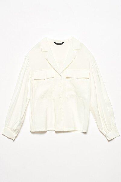 Dilvin Kadın Ekru 5791 Ceket Yakalı Gömlek 101A05791