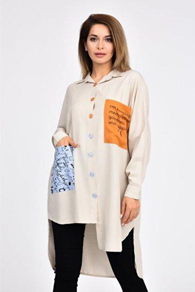 Modkofoni Kadın Bej Cepli ve Baskılı Uzun Kollu Gömlek