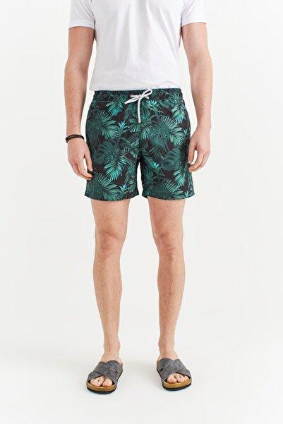 Avva Erkek Yeşil Çiçek Baskılı Deniz Şortu A01y3808