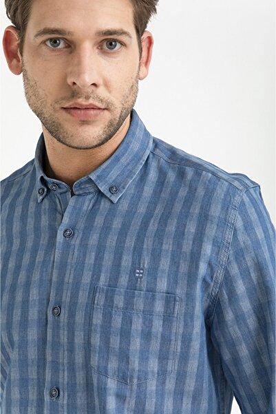 Avva Kareli Düğmeli Yaka Slim Fit Cepli Denim Gömlek