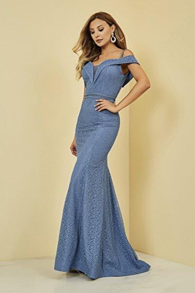 Sateen Kadın Mavi Uzun Balık Abiye Elbise