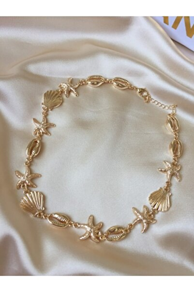 Ophelia Aksesuar Gold Istiridye Detaylı Choker Kolye